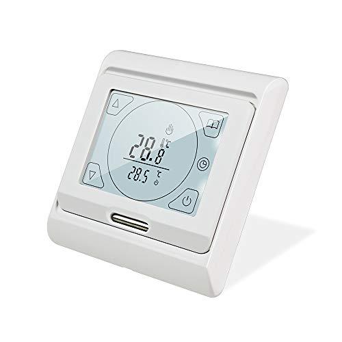 KETOTEK Thermostat Programmierbar für Elektrische Fußbodenheizung mit fühler 16A, Digitale Raumthermostat Fussbodenheizung Elektroheizung LCD Touchscreen 5+2/6+1/7