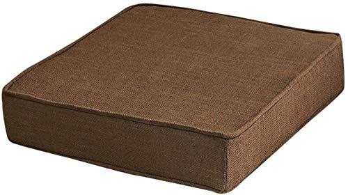 Almohadillas de esponja de lino para silla, no resbaladizas, lavables y extraíbles, transpirables, chinas para sillas de comedor, color marrón oscuro, 45 x 45 x 5 cm (color: marrón oscuro)