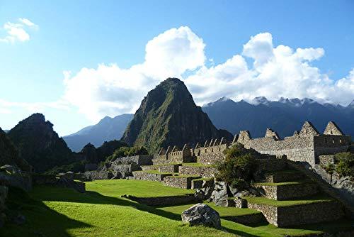 Pintura de diamante de taladro redondo completo 5D DIY, paisaje de Machu Picchu Perú, patrón de mosaico de costura sin marco 40x50 cm