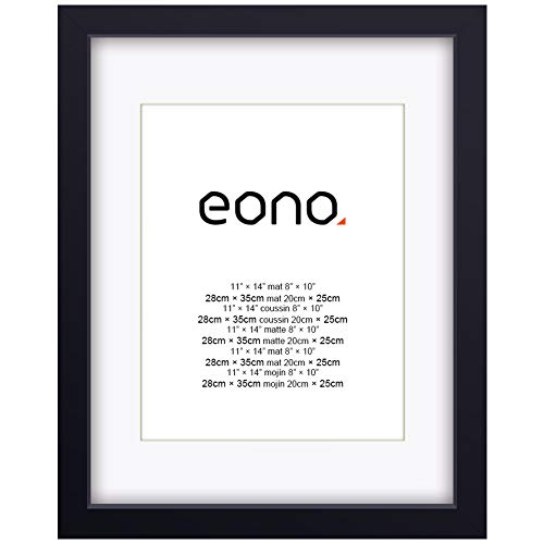 Eono by Amazon - 28x35 cm Bilderrahmen Hergestellt aus Massivholz und Hochauflösendem Glas für Bildformate 20x25 cm mit Passepartout oder 28x35 cm Ohne Passepartout Wandhängend Fotorahmen Schwarz