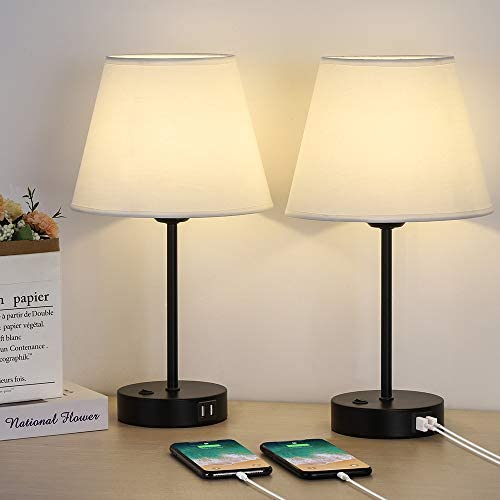 Bedside Lamps Table Lamp with Dual USB Quick Charging Ports Set of 2 Nightstand Lamps with Minimalist product image