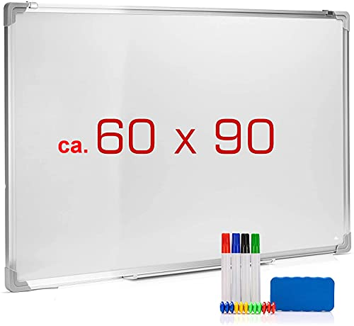 Whiteboard Set OFFICE POINT 18-teilig | Magnettafel weiß, 4 Whiteboard Marker, 12 Magnete für Magnettafel, 1 Whiteboard Schwamm magnetisch | Wandhalterung | trocken abwischbar | 90 x 58 cm