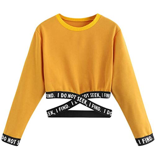 Sudaderas Mujer Cortas-I DO Not Seek Camiseta Manga Larga Tops, Emoticon Estampado Blusa Tops Camiseta de Manga Larga,Amarillo,S