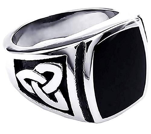 Zilveren en zwarte ring met keltisch symbool - heks stijl - esoterisch - triquetra symbool - unisex