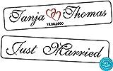 A-Z Store Original KFZ-Kennzeichen Hochzeit Autoschilder Hochzeitsschilder Namensschilder Just Married mit Datum u. Namen 0219-10