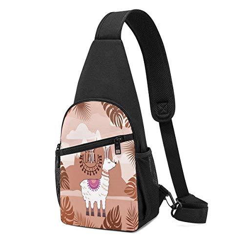 JONINOT Sling Bag Wrinkle Resistant Chest Shoulder Backpack Plam Tree Cute Llama Waterproof Pack Chest Crossbody Bag Men Women Teens