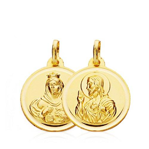 Escapulario Medalla Unisex Oro Amarillo 18 ktes Tamaño 18 mm Sagrado Corazón y Virgen del Carmen