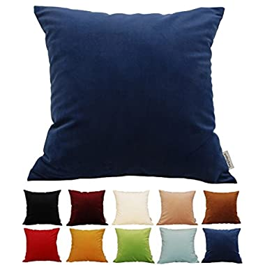 TangDepot Solid Velvet Throw Pillow Cover/Euro Sham/Cushion Sham, Super Luxury Soft Pillow Cases, Many Color & Size options - (22 x22 , Navy Blue)