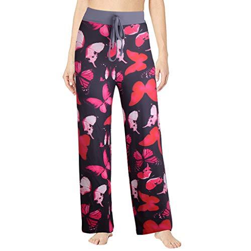 Lazzboy Gedruckte Bequeme Beiläufige Strand Pyjama Tragen Yoga Schau Damen Haremshose Boho Hippie Hose Leichte Muster Größe übergröße Sommerhose Pumphose(Rot,L)