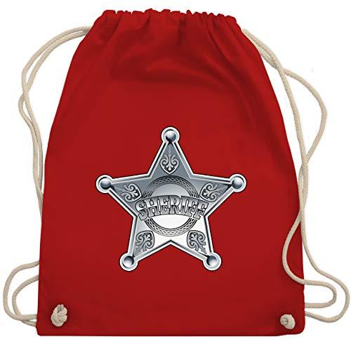 Karneval & Fasching - Cowboy Sheriff Karneval Kostüm - Unisize - Rot - sheriff turnbeutel - WM110 - Turnbeutel und Stoffbeutel aus Baumwolle