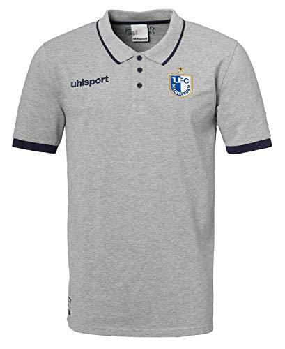 uhlsport Herren FCM Polo Shirt Freizeit 19/20 Poloshirt, grau Melange/Marine, L