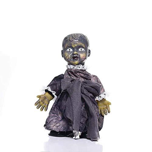 Wjmss Halloween Puppen Creepy Prop Gehen Horror Scary Besessen Puppe mit Sound Holiday Party Supplies Boshaftes Spielzeug Tease Freunde Supplies,A3