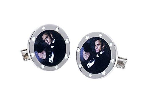 James Bond Casino Royale Boutons de manchette avec Daniel Craig dans une jeton de poker