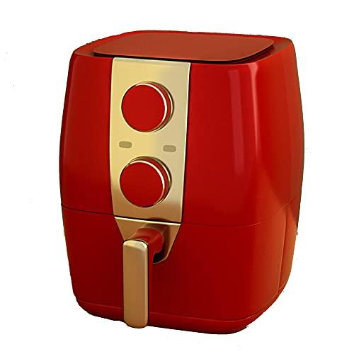 Freidora de aire, horno de 3.5 cuartos de 1200 W, antiadherente, fácil de limpiar, apagado automático, asar y mantener caliente, recordar precalentar y agitar, mango antiescarcha,Rojo