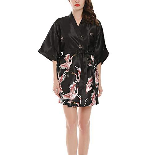 Donna Accappatoio Scollo a V Pigiama Kimono Donna da Notte Sexy Elegante, Camicia da Notte in Raso, per Piscina Sauna Spa Hotel Nozze,Maniche di Seta Nere M
