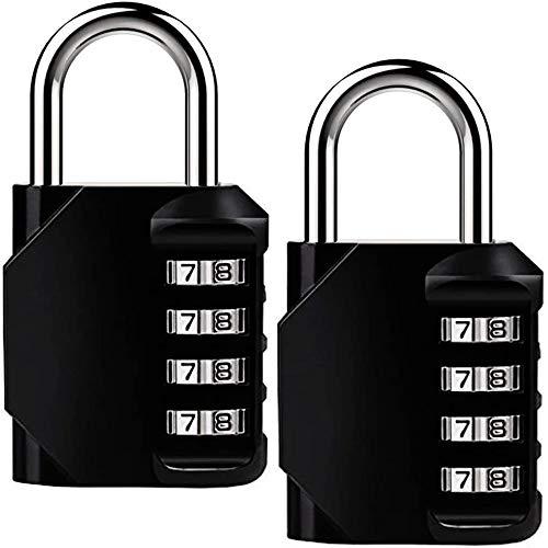 Candados Combinación,Candado de Seguridad 2PACK Candados para Equipaje con Combinaciones de 4 Dígitos para Gimnasio Maleta Caja de Herramientas Gabinete Puerta Cobertizo Almacenamiento Equipaje,Negro