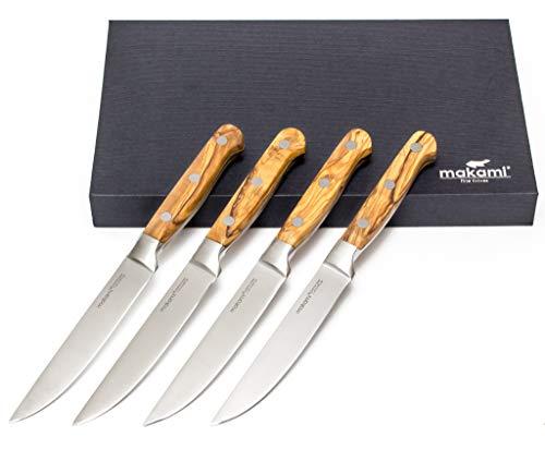 makami Set di 4 Coltelli da Bistecca'Olive Deluxe' con lama liscia, manico in legno di oliva in confezione regalo