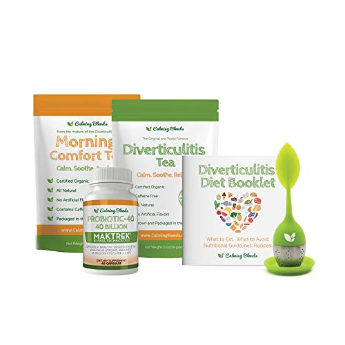 Calming Blends Tea Bundle Pack | Diverticulitis Tea, Morning Comfort Tea, Probiotic, Infuser | Supports Complete Digestive Health