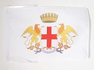AZ FLAG City of Genoa Coat of arms Flag 18'' x 12'' Cords - Genova Small Flags 30 x 45cm - Banner 18x12 in