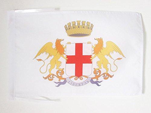 AZ FLAG Bandiera Città di Genova con Stemma 45x30cm - BANDIERINA Genoa con Blasone 30 x 45 cm cordicelle