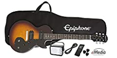 "Everything you need to begin learning guitar today Les Paul SL with single coil pickups 9V Battery operated ""MityPRO"" mini amp Gigbag, picks, and strap Online lessons by eMedia and EON Mobile App"