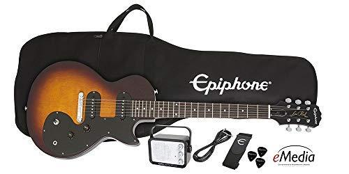 Epiphone Les Paul SL - Paquete de iniciación (incluye mini amplificador, ribetes, afinador, púas, y correa), diseño vintage