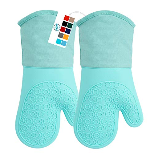 POPCO Professional Silicone Oven Mitt Oven Mitts with Quilted Liner Heat Resistant Pot Holders Flexible Oven Gloves 1 Pair 137 Inch Aqua Color