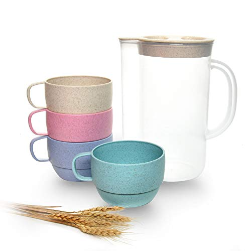 Gonioa Unbreakable Cereal Kettle Set,Wheat Straw Drinking Cup Set,Wheat Straw Kettle Set - Dishwasher & Microwave Safe - BPA Free, Healthy for Kids & Adult(4 Multicolor Cups,1 Kettle)