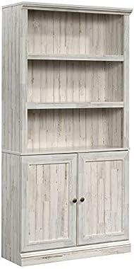 Sauder Misc Storage 3-Shelf 2-Door Tall Wood Bookcase in White Plank