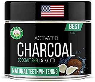 Best Activated Coconut Shell Black Charcoal Powder and Most Effective Teeth Whitening Formula with Natural and Organic Ingredients to Brighten your smile Made in USA (Fresh Mint)