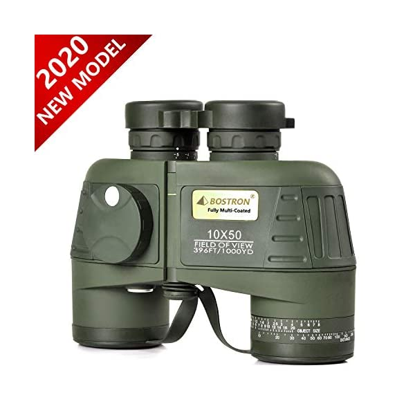 10X50 Marine Binoculars for Adults Waterproof with Compass Rangefinder Fogproof BAK4 Prism Lens Military Binocular for Navigation Boating Birdwatching and Hunting(Army Green)