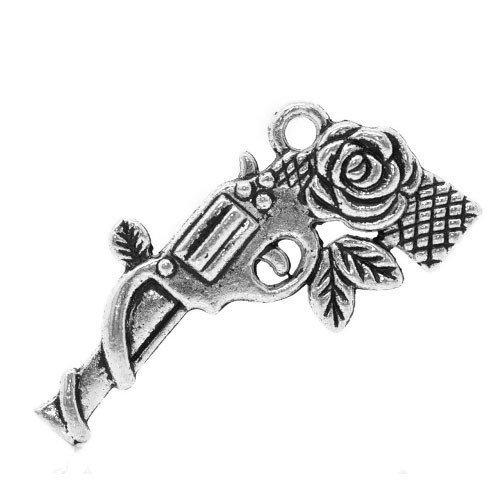Charming Beads Pacco 5 x Argento Antico Tibetano 33mm Ciondoli Pendente (Pistola) - (ZX04480)
