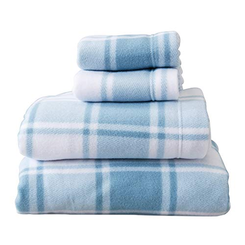 Super Soft Extra Plush Plaid Fleece Sheet Set. Cozy, Warm, Durable, Smooth, Breathable Winter Sheets with Plaid Pattern. Dara Collection by Great Bay Home Brand. (Full, Stone Blue)