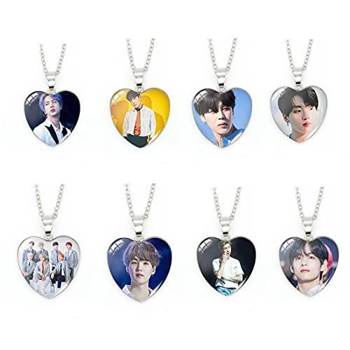 8 piezas de BTS colgante personalizado collar colgante collar acero inoxidable hombres mujeres niño papá cumpleaños joyería regalos llavero