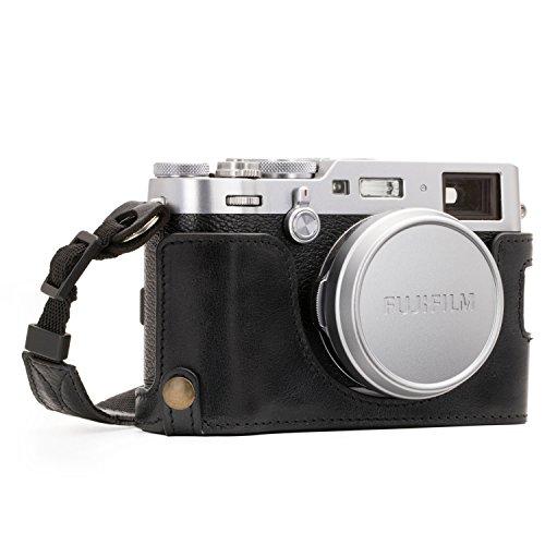 MegaGear Ever Ready Echtleder Kamera-Halbtasche mit Trageriemen & Batteriezugang für Fujifilm X100F schwarz