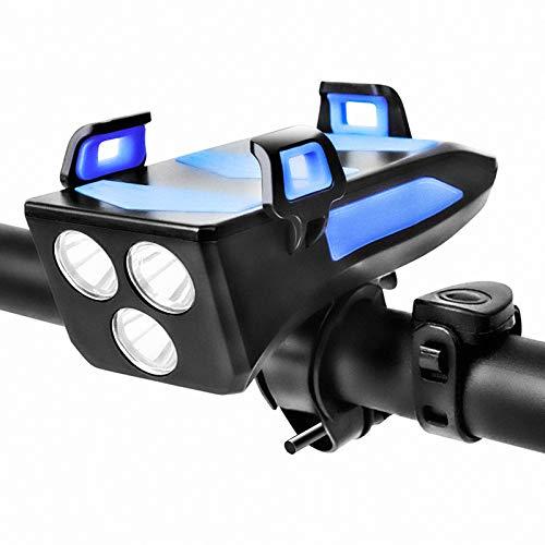 PandainspirS Luci per Bicicletta,4 in 1 Impermeabili Luci Bicicletta LED Ricaricabili USB, 3 modalit,Staffa per Telefono con Tromba da 130 Db,4000 mAh Accumulatore di energia