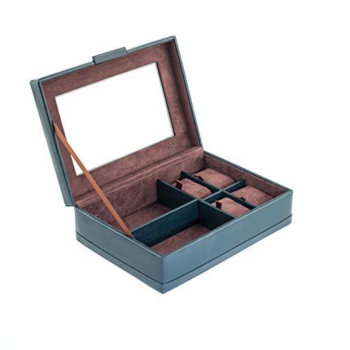 CORDAYS Boîte de Rangement pour Accessoires - 4 Montres et 2 Verres. - Fabriqué à la Main en Cuir synthétique. Couleur Navy CDM-00103