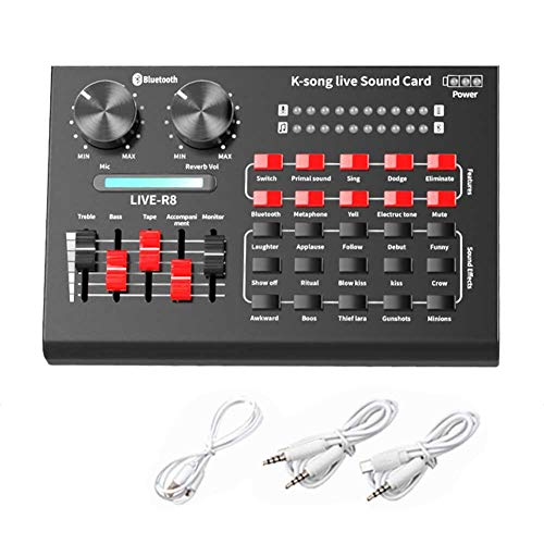 HONUTIGE R8-Live Tarjeta de sonido, mezclador de audio, tarjeta de sonido externa USB con múltiples tonos, micrófono para teléfono PC, micrófono y tarjeta de sonido en vivo para KTV, karaoke cantando
