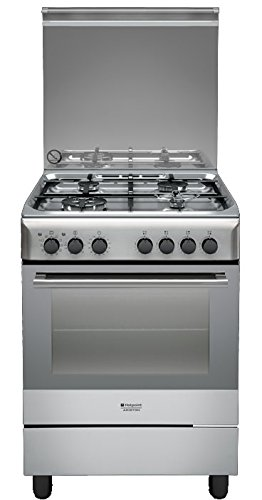 Hotpoint H6TMH2AF (X) IT Freestanding Cucina a gas (cucina Indipendente, Rotary, frontale, Gas, Media), Acciaio inossidabile