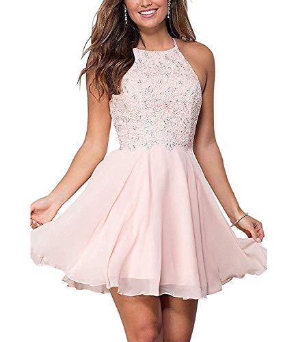 Zaozc Halter Lace Homecoming Dresses for Juniors Backless Chiffon Formal Short Prom Cocktail Gowns Pink