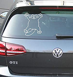 MS Car Sticker Lustige Katze für zb. Heckscheibe,Seitenscheibe usw. für innen(gespiegelt) oder aussenverklebung erhältlich (Weiss glänzend, Innenverklebung)