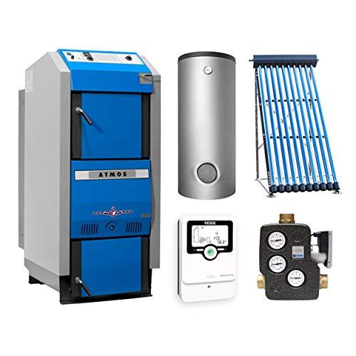 ATMOS KS3427 GSX 70 Holzvergaserkessel - Komplett-Set + Solarthermie-Set 2 (11m²) mit 3 Pufferspeicher 1000L und Hygienespeicher 900L+ 1 SWT