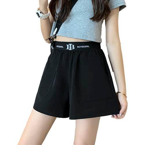 Pantalones Cortos para Mujer Moda Cintura Alta Relajado Casual Running Fitness Ocio Al Aire Libre Camping Básico Pantalones Cortos Deportivos con Bolsillos XL
