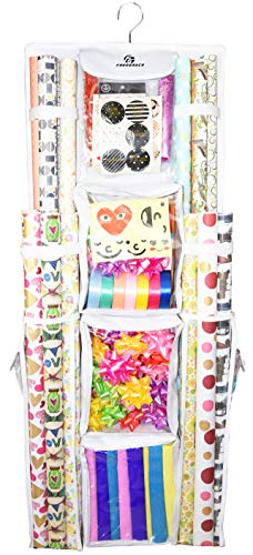Double Sided Hanging Gift Wrap Organizer | Large 16' x 41' Wrapping Paper Rolls Storage Bag | Tearproof & Space Saving Closet Gift Bag Organization Solution | Sturdy Zippers & Robust Adhesive Strip
