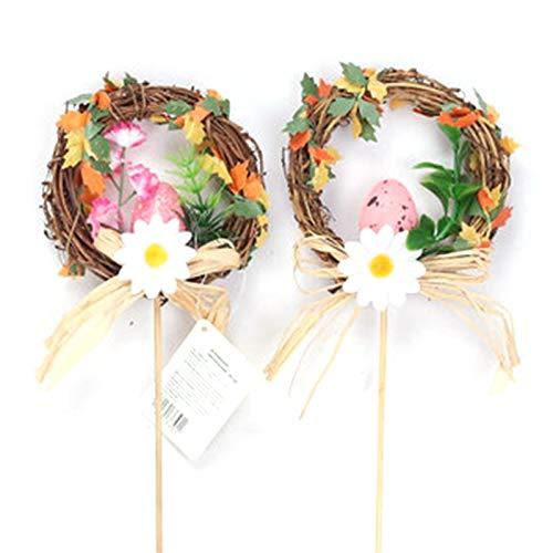 Unknows Ghirlanda di uova di Pasqua in rattan naturale decorazione per la casa e il giardino, decorazioni per feste di nozze e porta da appendere ghirlanda