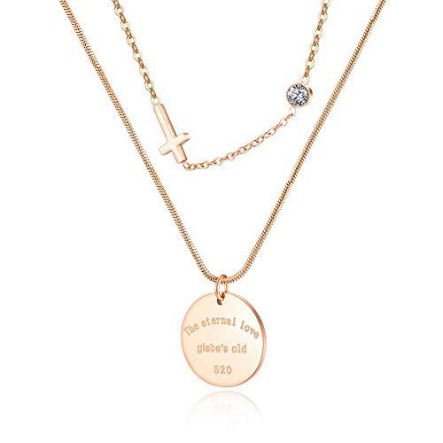 Collar con colgante de cruz de acero inoxidable chapado en oro rosa y titanio con cadena de 43 cm