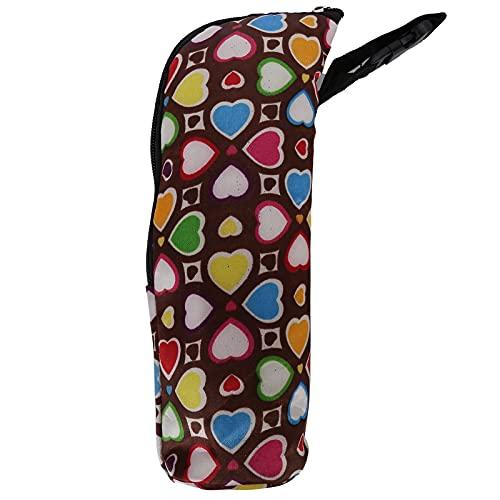 Isolierte Babyflaschentasche, Isolierung Aluminium-Babyflaschenwärmertasche 3-4 Stunden Umwelt für Kinderwagen für Picknicks Grillen, Strände(Braunes Herz)