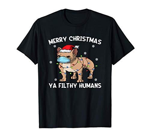 Merry Christmas Frenchie Dog Face Mask French Bulldog Santa T-Shirt