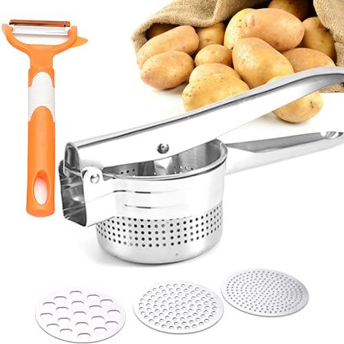 Kartoffelpresse Und Schälmesser, Kartoffelstampfer Edelstahl Kartoffel Stampfer,Kartoffelpresse für cremiges, Kartoffelbrei, Gemüse und Früchte, 3 Austauschbare Siebeinsätze in Fein, Mittel, Grob