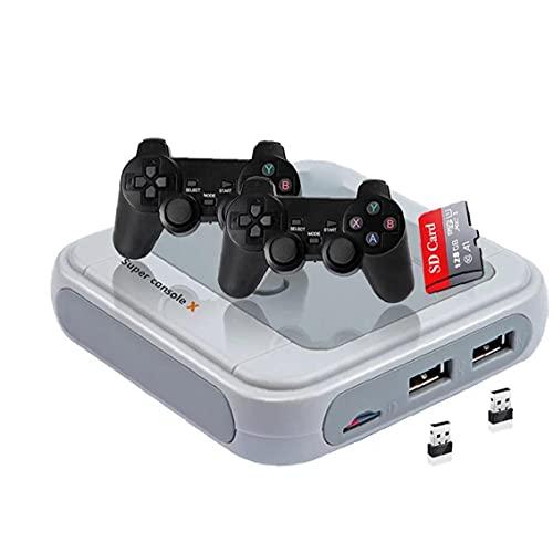 Tuimiyisou Consola de Juegos de TV Retro Consola de Videojuegos Mini-Juego de la Infancia Consola de Juego clásico de 128G Gris-UE